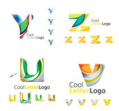 Letter business emblem collection. Letter business emblems, icon set. Design made of abstract overlapping geometric flowing shapes Stock Photo