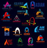 A letter business identity icons. Letter A icons, business idenity design. Above all and aquarius, abatement and animation, archery and allergy, aware and stock illustration