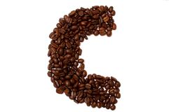 The letter C. The character C build with coffee beans Stock Photos