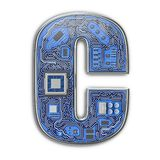 Letter C.  Alphabet in circuit board style. Digital hi-tech letter isolated on white royalty free stock image