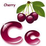 Letter C. Alphabet. English capital and uppercase letter C, stylized color of cherry juice. branch cherry with leaf . vector illustration Royalty Free Stock Photos