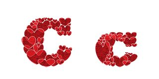 Letter C of alphabet made from hearts. Letter C, uppercase and lowercase of alphabet made from hearts Royalty Free Stock Photo