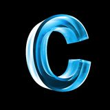 Letter C in blue glass 3D Stock Images