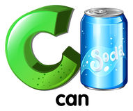 A letter C for can. On a white background Royalty Free Stock Images
