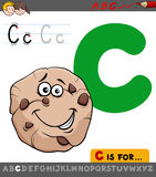 Letter c with cartoon cookie sweet. Educational Cartoon Illustration of Letter C from Alphabet with Cookie Sweet Food Character for Children vector illustration