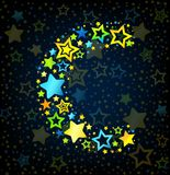 Letter C cartoon star colored Royalty Free Stock Image