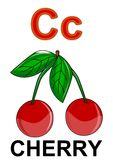Letter C cherry. Alphabet drawing for small school children C cherry vector illustration