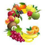 Letter C composed of different fruits with leaves Stock Images