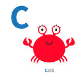 Letter C Crab Zoo alphabet. English abc with animals Education cards for kids  White background Flat design Royalty Free Stock Image