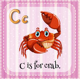 Letter C. Flashcard letter C is for crab royalty free illustration