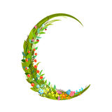 Letter C floral latin decorative character alphabet lettering sign Royalty Free Stock Image