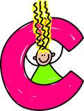 Letter C girl. Happy little girl with a letter C - toddler art series Stock Photo