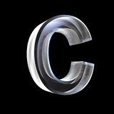 Letter C in glass 3D Stock Photography