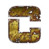 Letter C icon stylized on rusty metal vector illustration