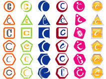 Letter C Icons Badges and Tags vector illustration