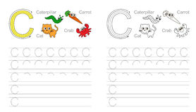 Letter C. Learn handwriting. Vector exercise illustrated alphabet. Learn handwriting. Tracing worksheet for letter C Stock Image