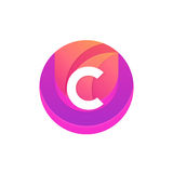 Letter C logo abstract circle shape element. Vector round compan Royalty Free Stock Photo