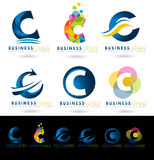 Letter C Logo Designs. Creative abstract vector letter C icons with blue and orange colors vector illustration