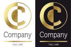 Letter C logo. Golden bright letter C logo vector illustration