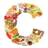 Letter C made of food Royalty Free Stock Images