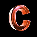 Letter C in red glass 3D Royalty Free Stock Image