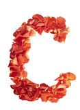 Letter C of rose petals Stock Images