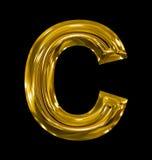 Letter C rounded shiny golden isolated on black. Background Stock Images