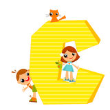 Letter C. School children look out for the letter C. Vector illustration Stock Images