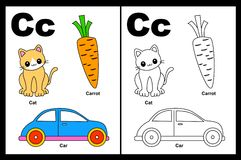 Letter C worksheet. Alphabet letter C with colorful cliparts and coloring graphics children worksheet royalty free illustration