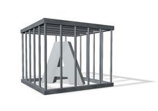 Letter a in cage Royalty Free Stock Photo