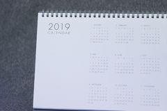 The letter 2019 on the calendar stock image