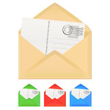 Letter with card. Vector set of letter with card stock illustration