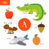 Letter A. Cartoon alphabet for children. Alligator, ant, apple, Stock Photo