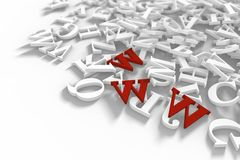 Red WWW Letters. Abstract background. 3D illustration stock illustration