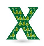 Letter X christmas festive font icon vector. Design illustration Royalty Free Stock Photography