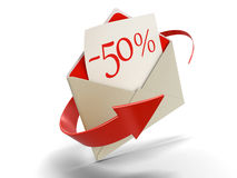 Letter -50% (clipping path included) Stock Photo