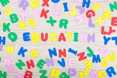 Letter cluster with english word education Stock Photos