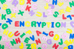 Letter cluster with english word encryption Royalty Free Stock Image
