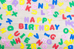 Letter cluster with message Happy Birthday Royalty Free Stock Image