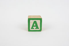 The Letter A in Colorful Wooden Children's Blocks royalty free stock photos