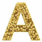 Letter A composed of golden stars isolated on white Royalty Free Stock Image