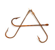 Letter A composed of old rusty fish hooks Royalty Free Stock Image