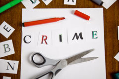 Letter with Crime word on the paper. Royalty Free Stock Photo