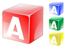 Letter a in cube Royalty Free Stock Images