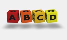 Letter cubes A B C D. Letter in color cubes A B C D vector illustration