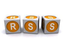 Letter cubes RSS. Three-dimensional cubes or blocks with the letters RSS Royalty Free Stock Image