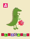 Letter A. Cute cartoon english alphabet with colorful image and word. Stock Photos