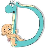Letter D. A baby and a snake forming the letter D vector illustration