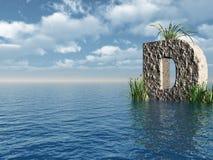 Letter D. Rock in water landscape - 3d illustration stock illustration