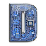 Letter D. Alphabet in circuit board style. Digital hi-tech letter isolated on white stock photo